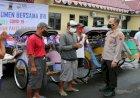 Polres Kebumen-BRI Salurkan 300 Paket Sembako Untuk Tukang Becak